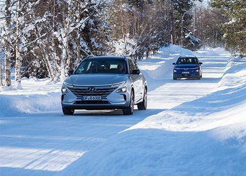 Hyundai test KONA Electric en NEXO in extreme kou in Lapland