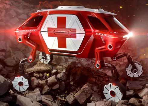 Hyundai Elevate Walking Car met vier poten helpt bij natuurrampen